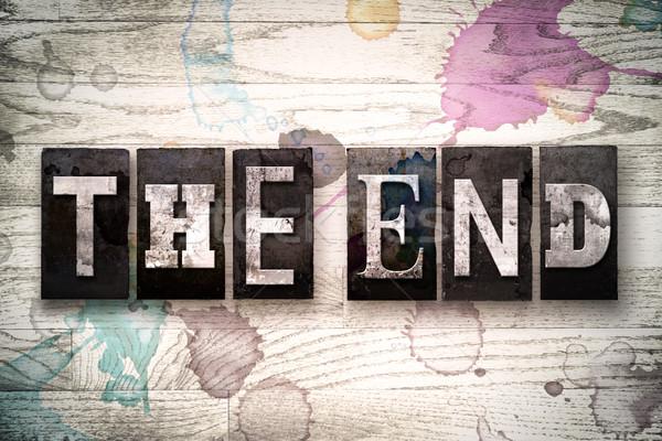 Befejezés fém magasnyomás szó írott Stock fotó © enterlinedesign