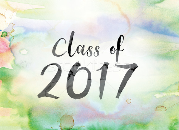 Class of 2017 Colorful Watercolor and Ink Word Art Stock photo © enterlinedesign