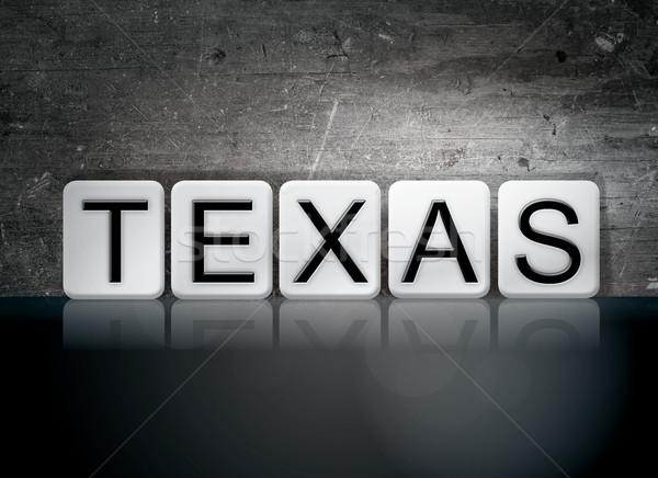Teksas kiremitli harfler kelime yazılı beyaz Stok fotoğraf © enterlinedesign