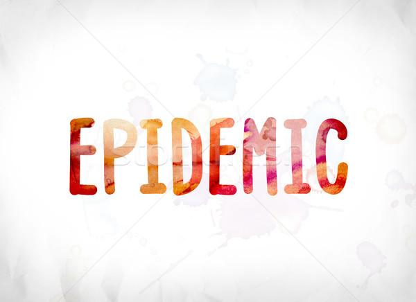 Járvány festett vízfesték szó művészet színes Stock fotó © enterlinedesign