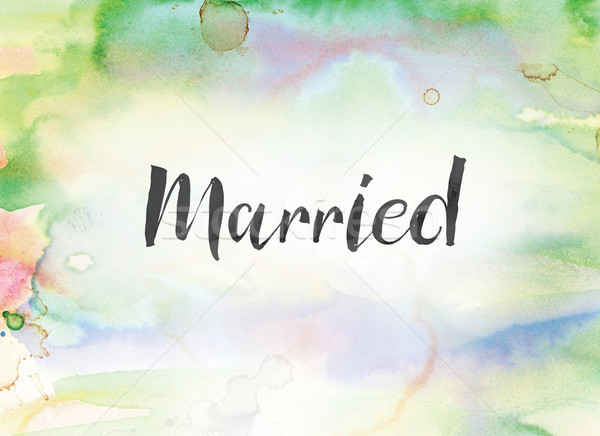 Married Concept Watercolor and Ink Painting Stock photo © enterlinedesign