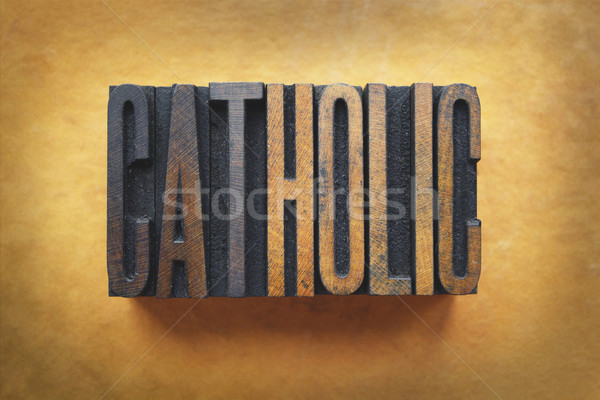 カトリック教徒 言葉 書かれた ヴィンテージ タイプ ストックフォト © enterlinedesign