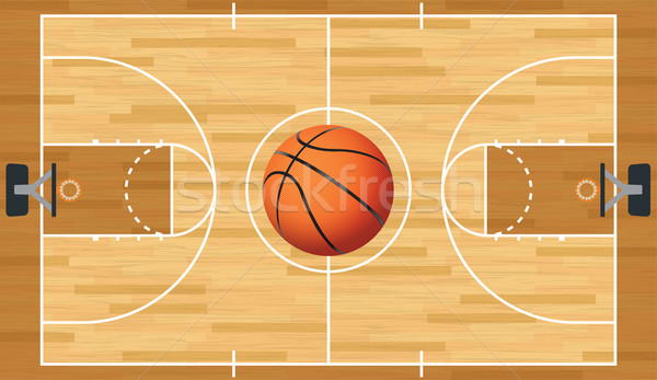Realistic Vector Basketball Court and Ball Stock photo © enterlinedesign