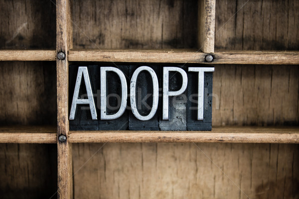Adoption Concept Metal Letterpress Word in Drawer Stock photo © enterlinedesign