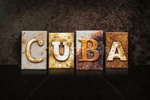 Kuba magasnyomás sötét szó írott rozsdás Stock fotó © enterlinedesign