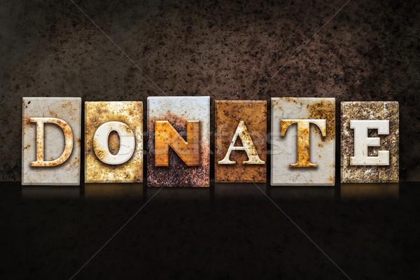 Donate Letterpress Concept on Dark Background Stock photo © enterlinedesign