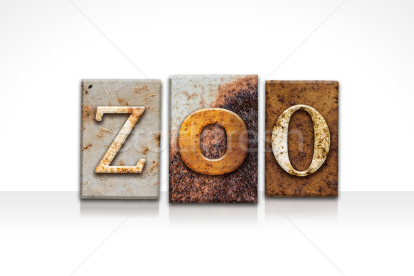 Stock photo: Zoo Letterpress Concept Isolated on White