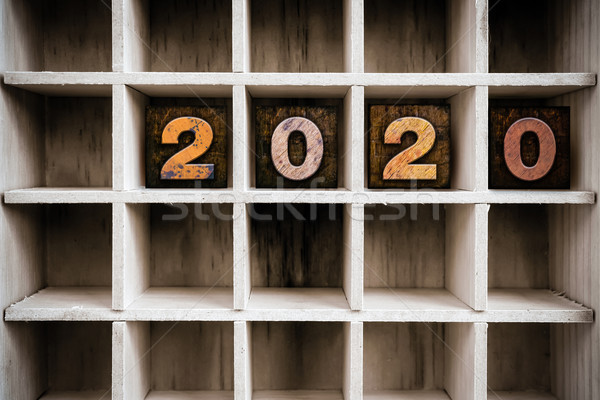 2020 Concept Wooden Letterpress Type in Draw Stock photo © enterlinedesign