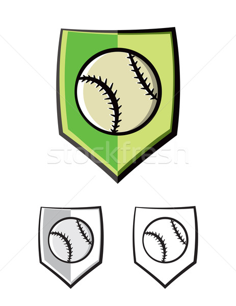 Baseball Shield Emblem Icons Illustration Stock photo © enterlinedesign