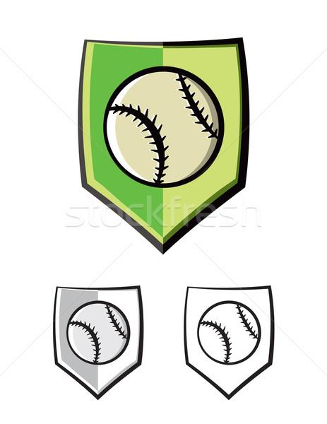 Baseball tarcza godło ikona ilustracja wektora Zdjęcia stock © enterlinedesign