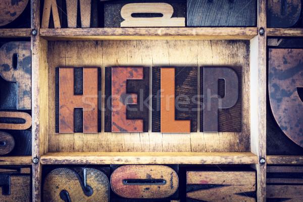 Helpen type woord geschreven vintage Stockfoto © enterlinedesign