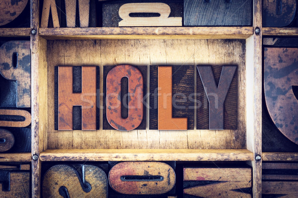 Holy Concept Letterpress Type Stock photo © enterlinedesign