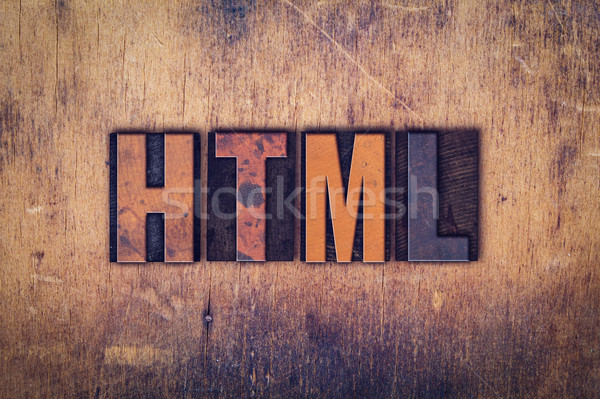 Html bois type mot écrit Photo stock © enterlinedesign