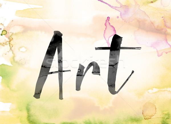 ストックフォト: 芸術 · カラフル · 水彩画 · インク · 言葉 · 描いた