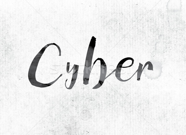 Cyber Concept Painted in Ink Stock photo © enterlinedesign