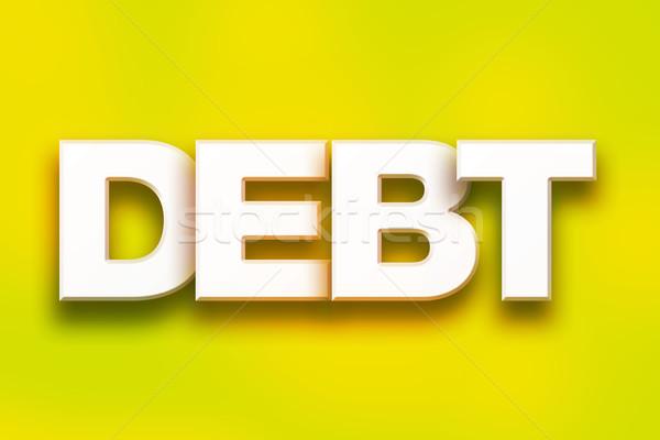 Dívida colorido palavra arte escrito branco Foto stock © enterlinedesign