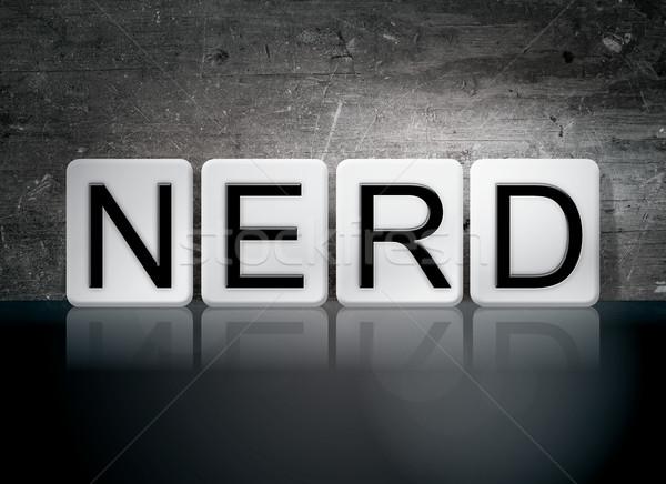 Nerd gefliesten Briefe Wort geschrieben weiß Stock foto © enterlinedesign