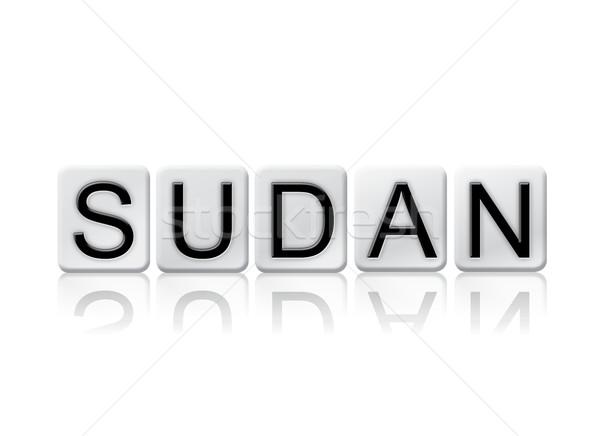 Szudán izolált csempézett levelek szó írott Stock fotó © enterlinedesign