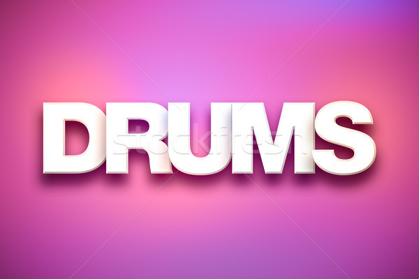 Stock photo: Drums Theme Word Art on Colorful Background