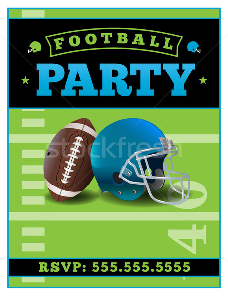 American Football Party Flyer Template Illustration Stock photo © enterlinedesign