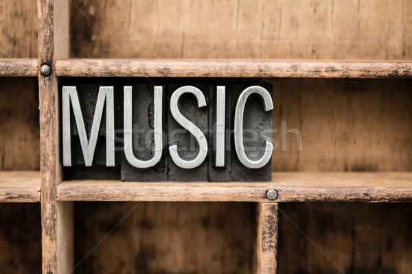 Music Vintage Letterpress Type in Drawer Stock photo © enterlinedesign