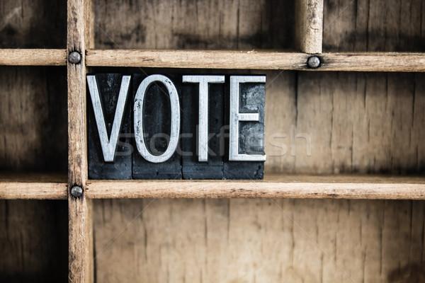 Votazione metal parola cassetto scritto Foto d'archivio © enterlinedesign