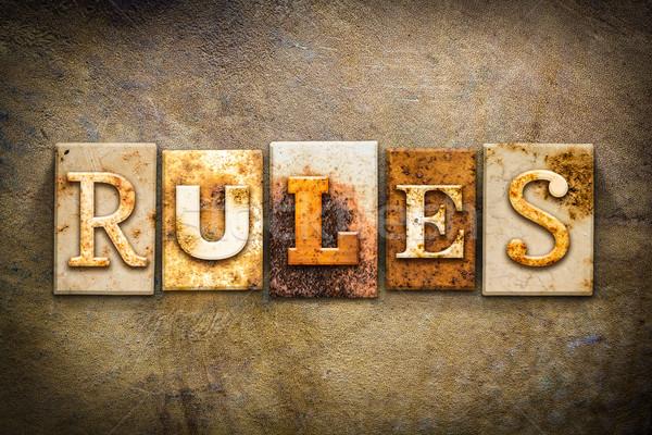 правила кожа слово написанный ржавые Сток-фото © enterlinedesign