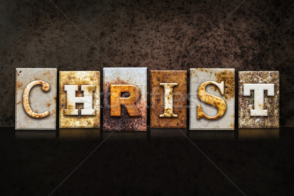 Christ Letterpress Concept on Dark Background Stock photo © enterlinedesign