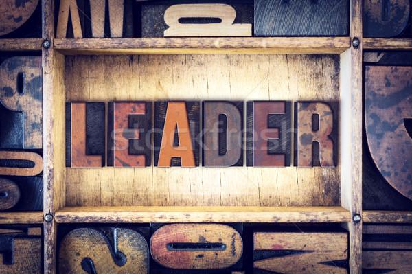 Líder tipo palavra escrito vintage Foto stock © enterlinedesign