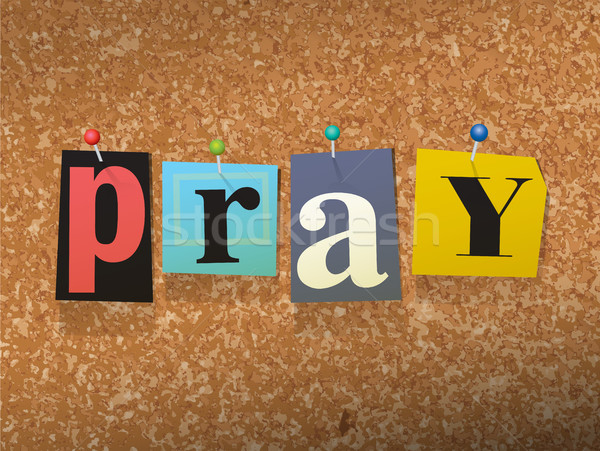 Pray Pinned Paper Concept Illustration Stock photo © enterlinedesign