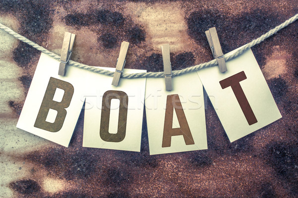 Boat Concept Pinned Stamped Cards on Twine Theme Stock photo © enterlinedesign