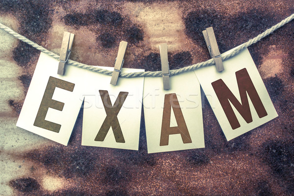 Exam Concept Pinned Stamped Cards on Twine Theme Stock photo © enterlinedesign