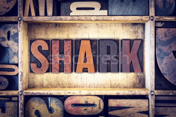 Shark Concept Letterpress Type Stock photo © enterlinedesign