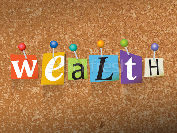 Wealth Pinned Paper Concept Illustration Stock photo © enterlinedesign
