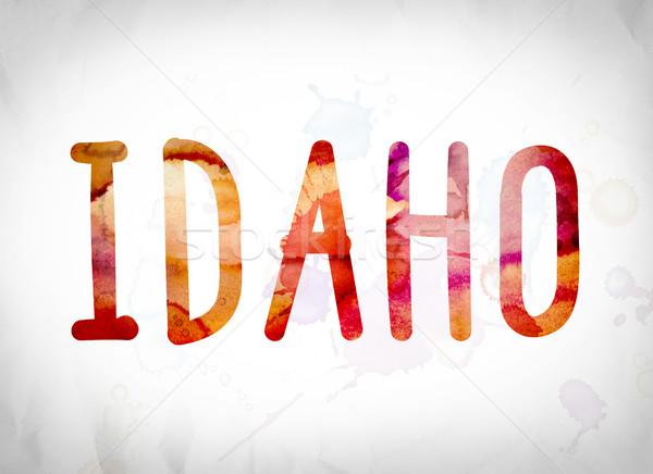 Idaho aquarel woord kunst geschreven witte Stockfoto © enterlinedesign