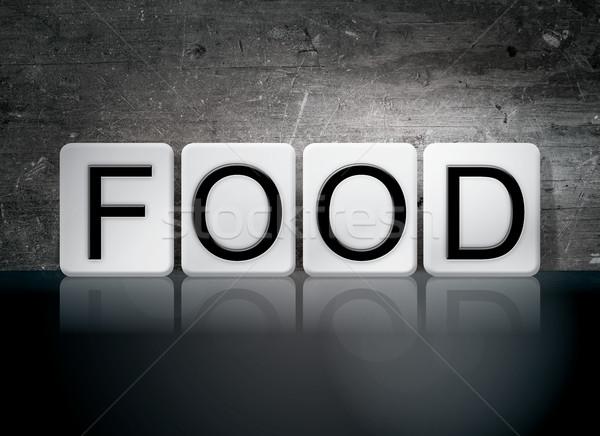 Stock fotó: étel · csempézett · levelek · szó · írott · fehér