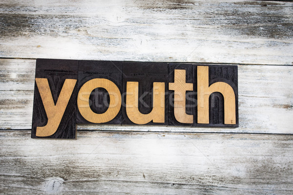 Youth Letterpress Word on Wooden Background Stock photo © enterlinedesign