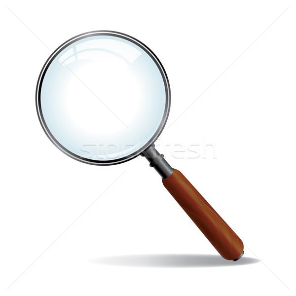 Vetor lupa metal madeira pesquisar lente Foto stock © enterlinedesign