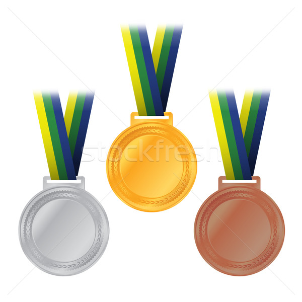 Olympic Medals Gold Silver Bronze Illustration Stock photo © enterlinedesign