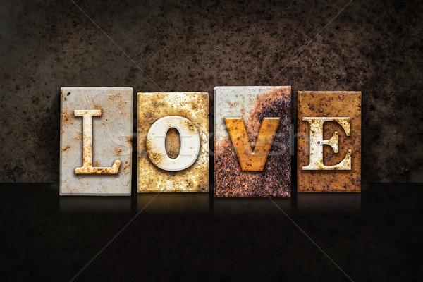 Love Letterpress Concept on Dark Background Stock photo © enterlinedesign