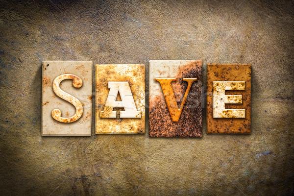 Save Concept Letterpress Leather Theme Stock photo © enterlinedesign
