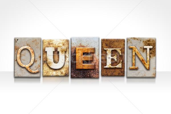 Stockfoto: Koningin · geïsoleerd · witte · woord · geschreven