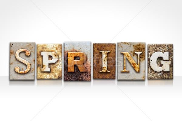 Сток-фото: весны · изолированный · белый · слово · написанный