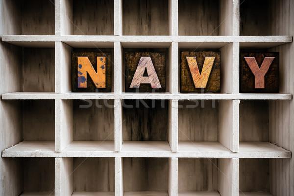 Navy Concept Wooden Letterpress Type in Drawer Stock photo © enterlinedesign