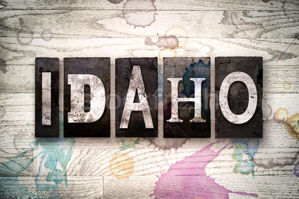 Idaho Concept Metal Letterpress Type Stock photo © enterlinedesign