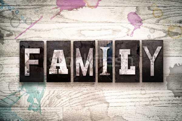 Family Concept Metal Letterpress Type Stock photo © enterlinedesign