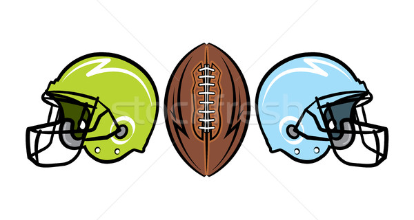 Americano futebol ilustração capacetes bola Foto stock © enterlinedesign
