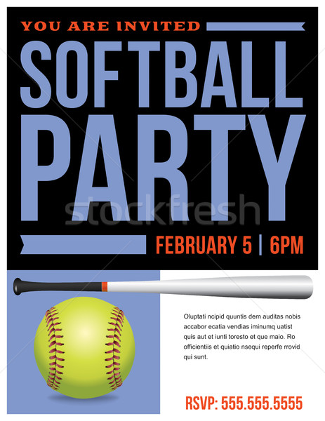 Softball fête flyer invitation illustration Photo stock © enterlinedesign