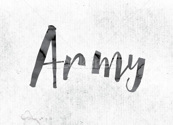 Ordu boyalı mürekkep kelime suluboya beyaz Stok fotoğraf © enterlinedesign