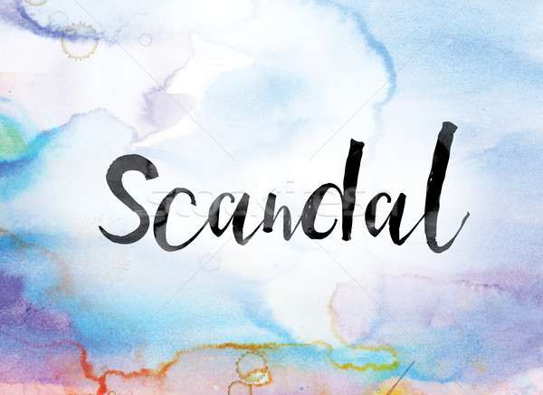 Scandal Colorful Watercolor and Ink Word Art Stock photo © enterlinedesign